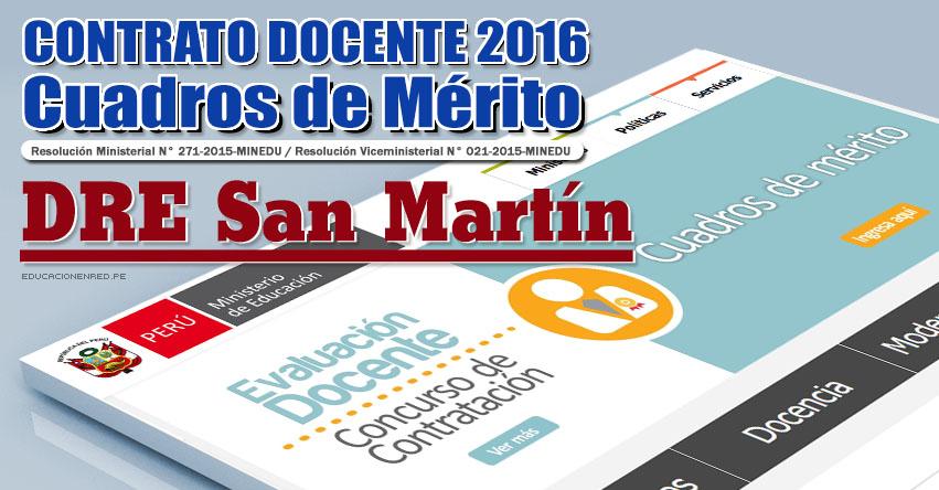 DRE San Martín: Cuadros de Mérito para Contrato Docente 2016 (Resultados 22 Enero) - www.dresanmartin.gob.pe