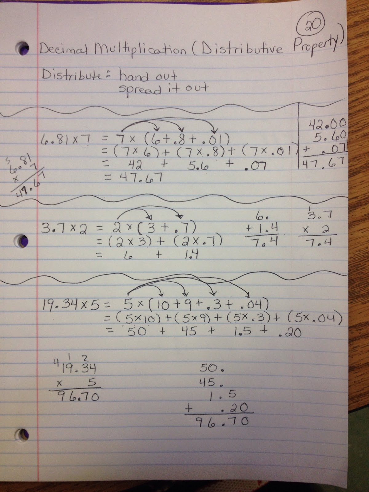 Math With Mrs D Multiplication Of Decimals Using The Distributive Property