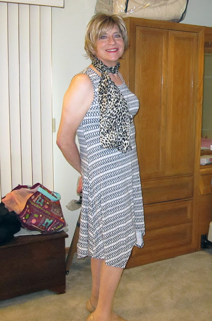 Dress from DressBarn, high heel pumps from Payless and scarf from Avon.