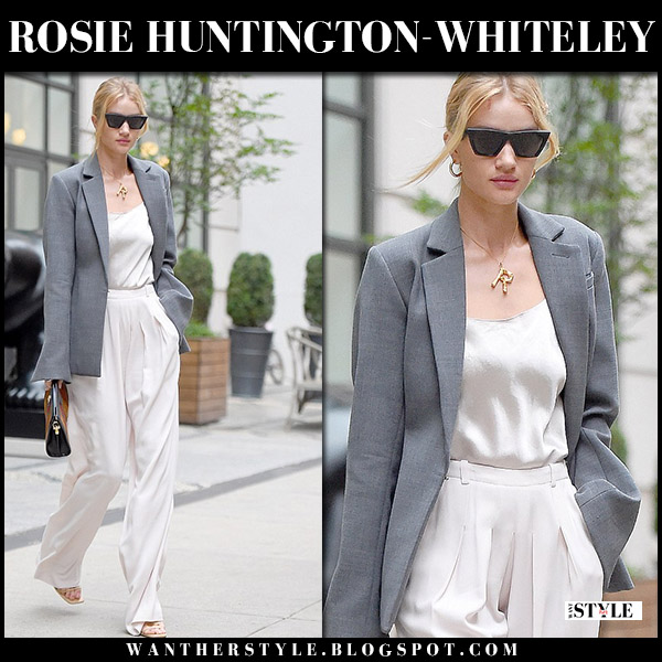 Rosie Huntington-Whiteley in grey blazer, satin camisole and beige wide leg pants model street fashion august 13