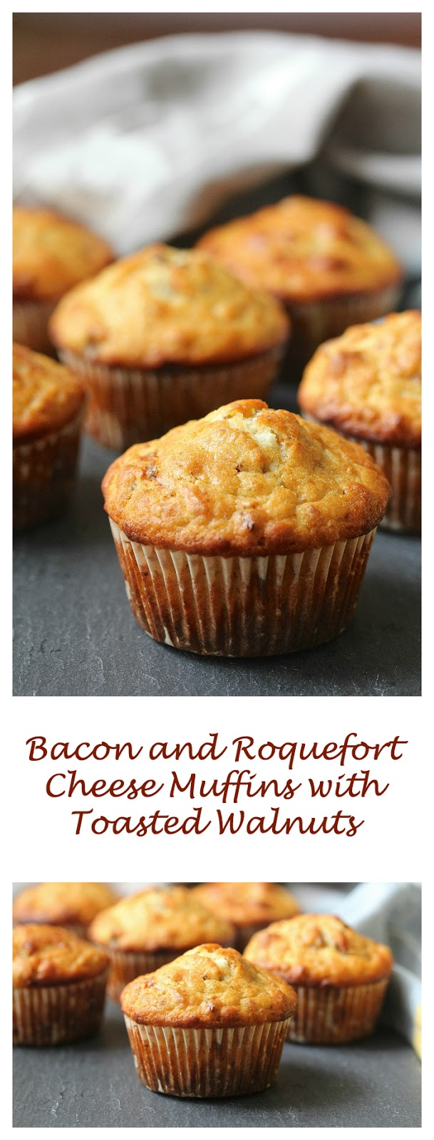 Bacon and Roquefort Cheese Muffins with Toasted Walnuts