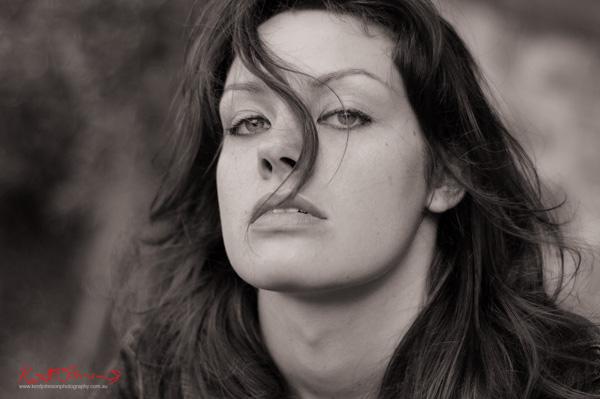 Women's headshot for a Sydney location modelling portfolio shoot, photographed  by Kent Johnson.