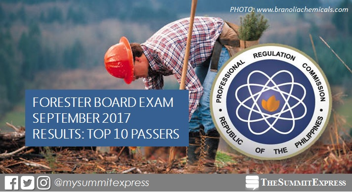 TOP 10 PASSERS: September 2017 Forester board exam results