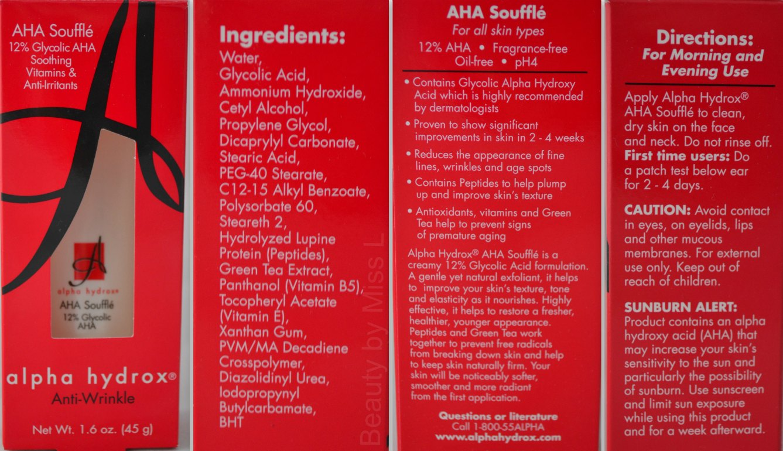Neoteric Cosmetics Inc Alpha Hydrox AHA Souffle ingredients information