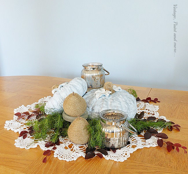 Vintage, Paint and more... beautiful fall centerpiece done with diy painted blue ceramic pumpkins, twine wrapped pears and mercury glass candles