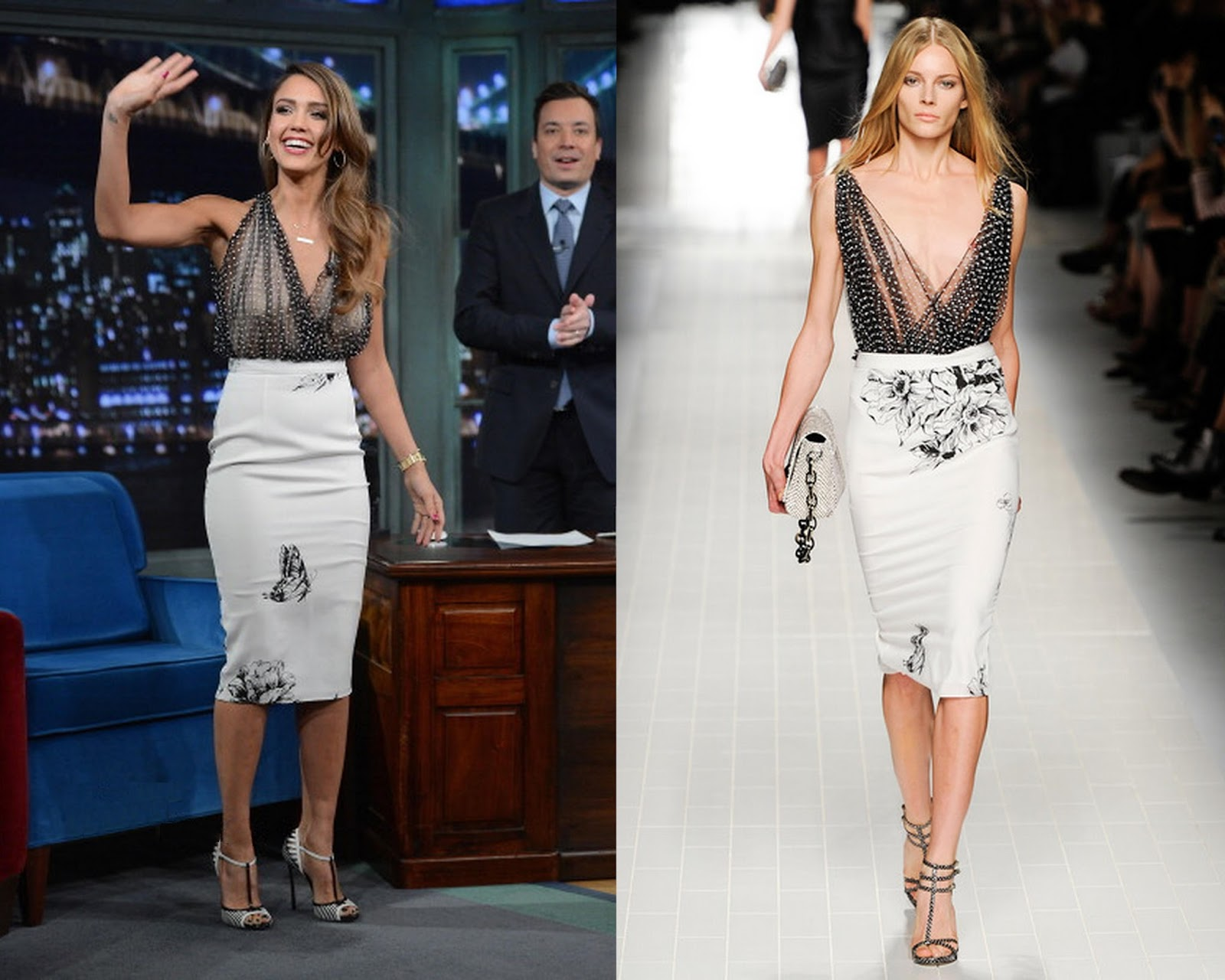 Late Night with Jimmy Fallon - Jessica Alba in Blumarine