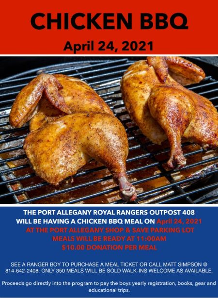 4-24 Port Allegany Royal Ranger Chicken BBQ