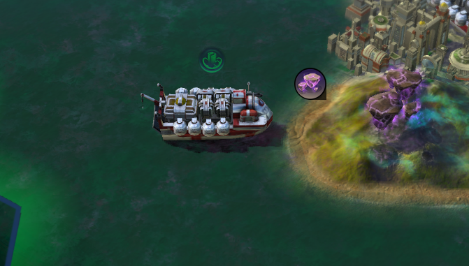 A Trade Vessel, about to return to home port. Trade units bring in massive amounts of Energy each turn.