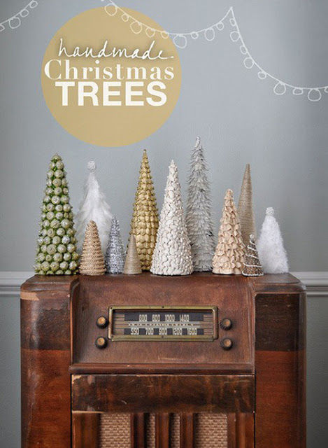Tabletop unique Christmas trees with cartoon decorations