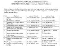 JADWAL DAN LOKASI UJIAN SKD CPNS 2017 KEMENTERIAN PANRB (RESMI)