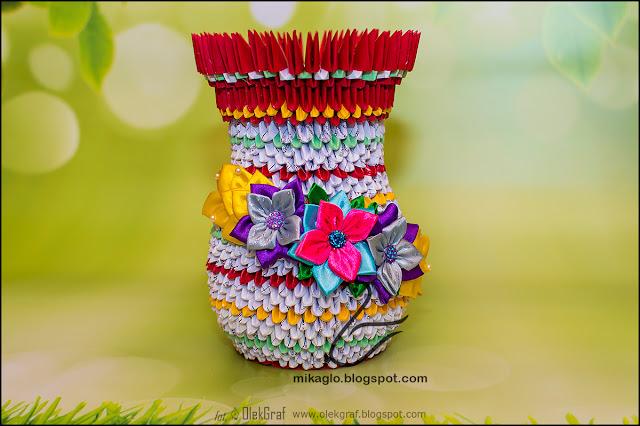 416. Modułowy wazon na kwiaty / 3d origami flower vase