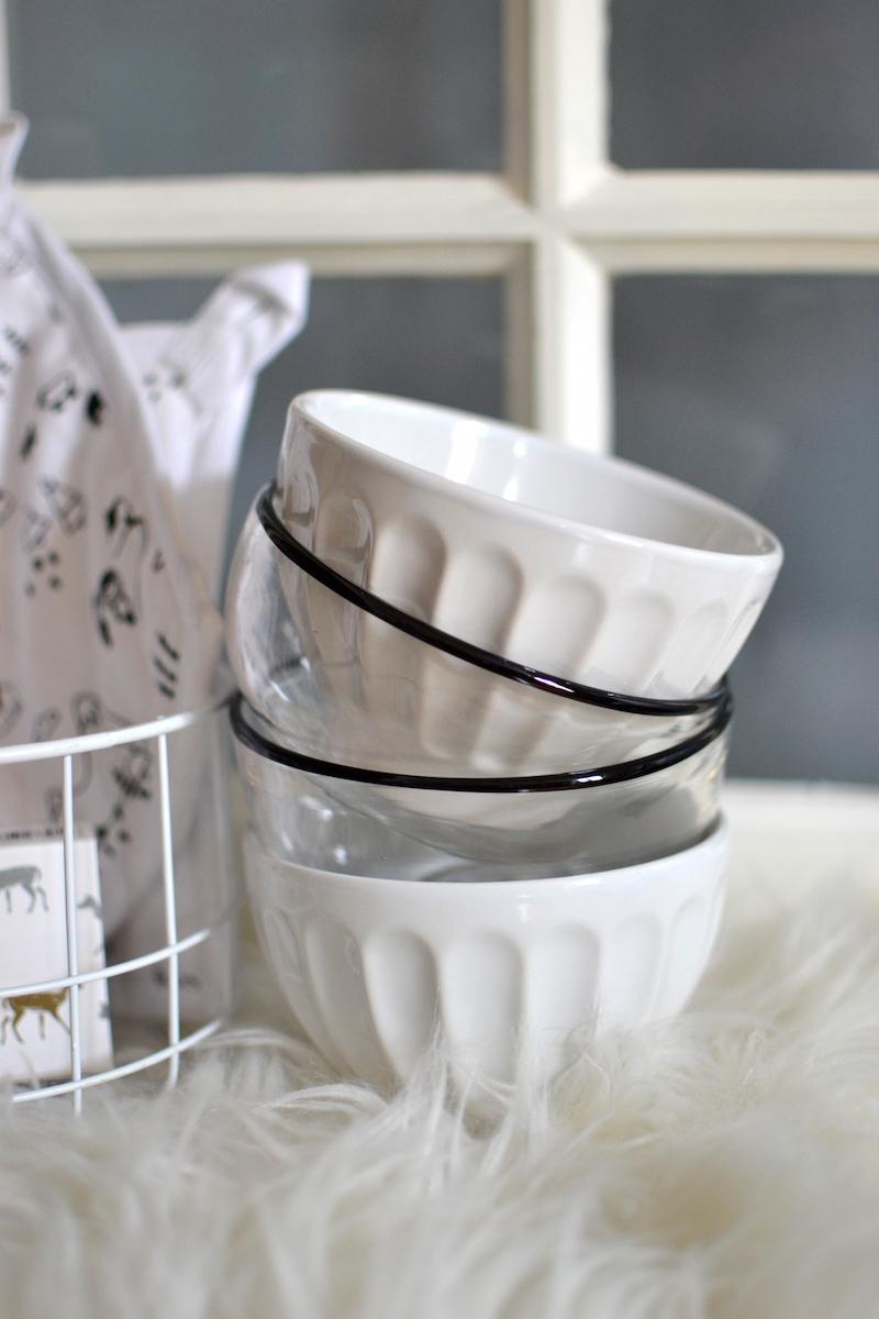 bols transparent bord noir et blanc blanc-Monoprix