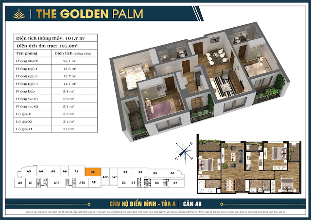 Căn A8 - 101m - The Golden Palm