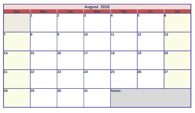 August 2016 Printable Calendar, August 2016 Blank Calendar, August 2016 Calendar, August 2016 Calendar Template, 2016 August Printable, August 2016 Cute Calendar
