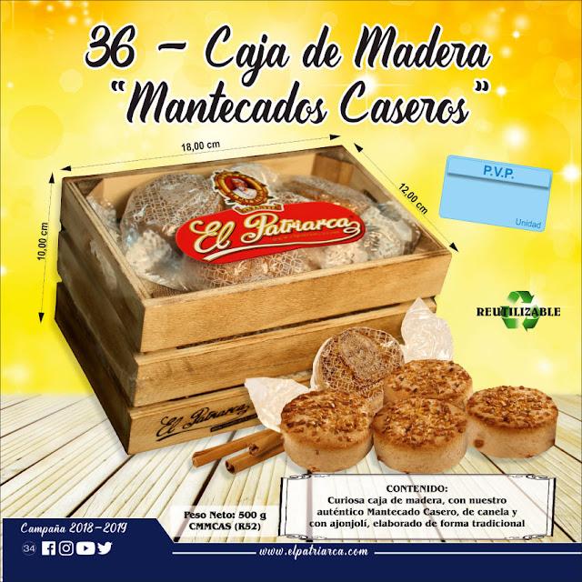 Mantecados Caseros El Patriarca en caja de madera 500 g - Comercial H. Martín sa