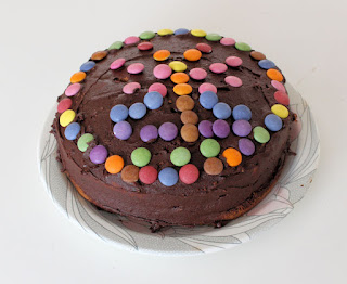 chocolate cake decorated with smarties