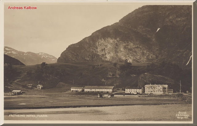This view of Flåm and the Fretheim hotel appeared in an early brochure at the turn of the 20th century. Photo: Vogelfoto69.