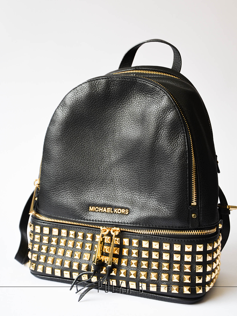 5abc73a8f6af Michael Kors Rhea Small Studded Leather Backpack - Black   Polka B ...