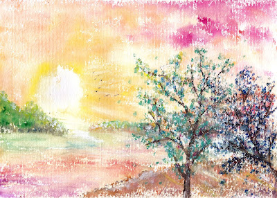 Free Sunset Watercolor Painting