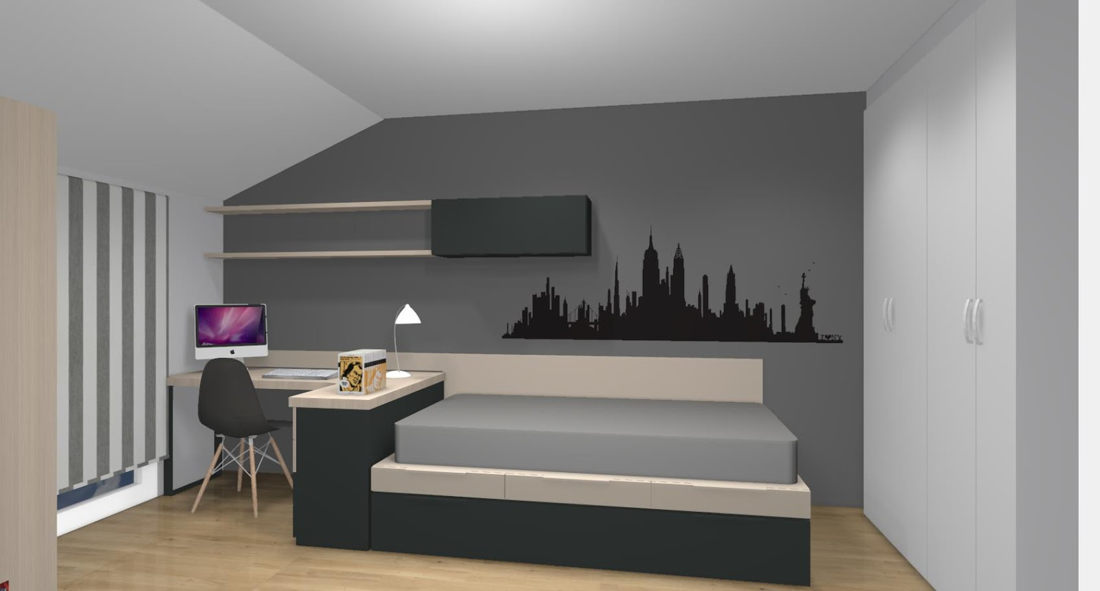 Dormitorio juvenil para dos hermanos distribuido con camas - Habitaciones de dos camas juveniles ...