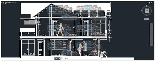 Vertical projections of the project (sections ( House 2 floors dwg