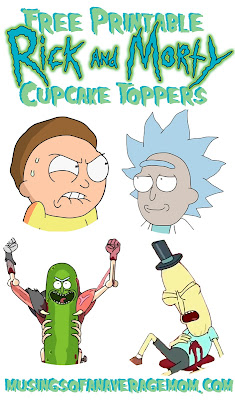 rick and morty cupcake toppers