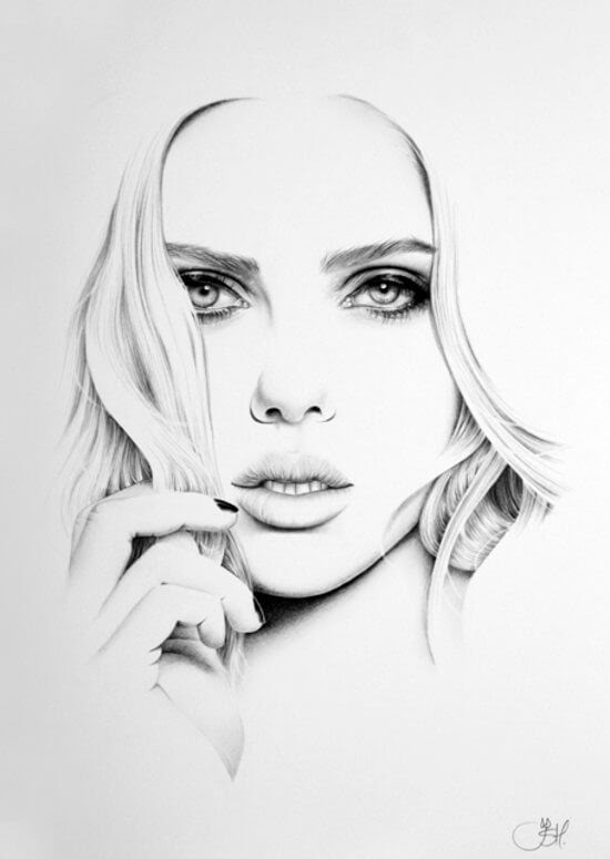 10-Scarlett-Johansson-Ileana-Hunter-Drawings-of-Minimalist-Realism-Meets-Celebrities-www-designstack-co