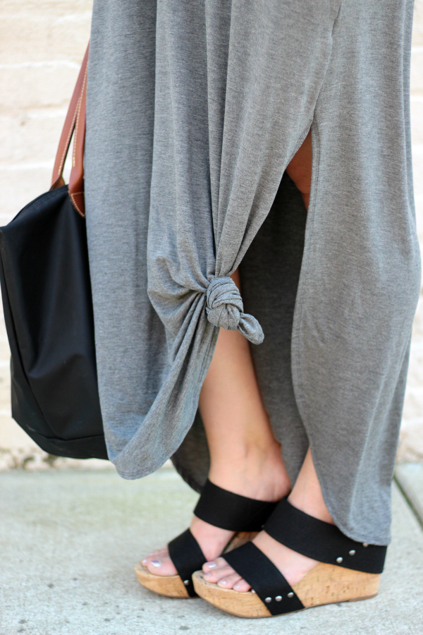 Gray Monroe, how to style a maxi dress, black wedge sandals, mom style, style on a budget