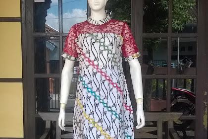 Model Dress Batik Kombinasi Brokat Muslim