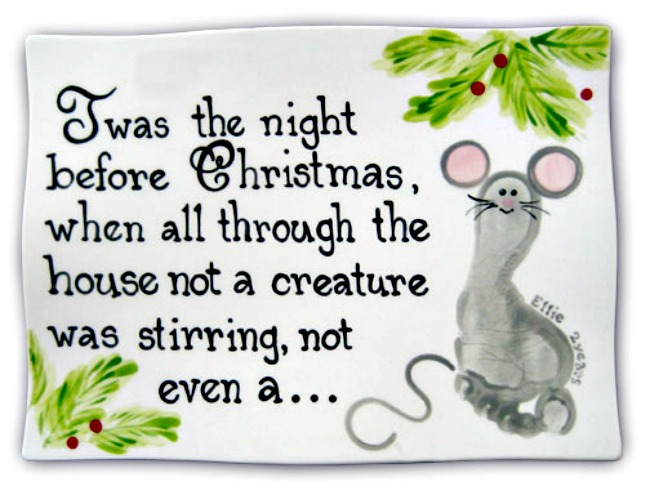 'Twas the Night Before Christmas' footprint mouse ceramic plate.  A keepsake idea for babies, toddlers and preschoolers.