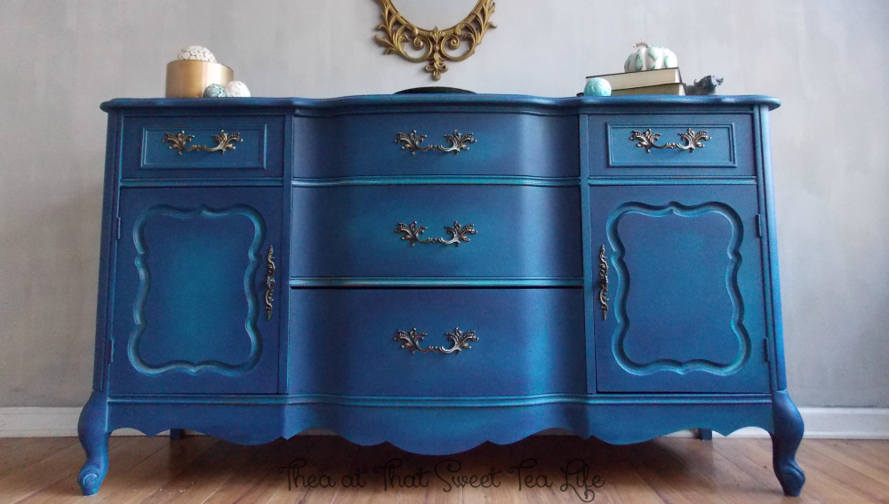 Blue Painted Furniture: Your Blended Paint Inspiration by That Sweet Tea Life | front center | Shaded Furniture| How to create a blended Paint Furniture Finish | Blended Painted Furniture Ideas | Furniture Painting Tips | How to paint Furniture | Blending Blue Furniture Makeover | Layered Paint | Blended Painting | Dresser Makeover | Furniture DIY | #paintblending | #blendedpaintfinish | #blendedfurniturepaint