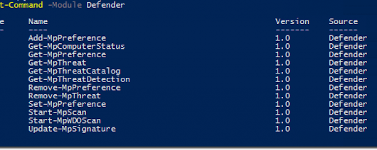 Using the Windows Defender PowerShell cmdlets