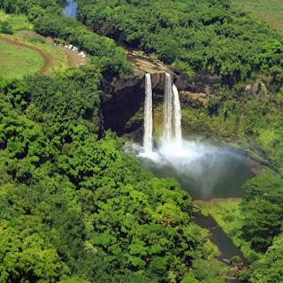 Wailua Falls on the Island of Kauai in Hawaii