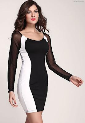 Vestidos Blancos con Negro