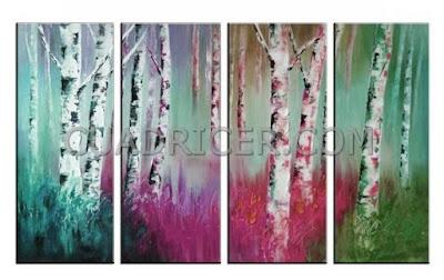 http://www.cuadricer.com/cuadros-troncos-arboles-arboleda-colores-fantasia-alegre-energia-rosa-turquesa-2185.html