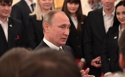 Vladirmir Putin at the meeting with members of WorldSkills-Russia national team.