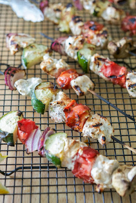 Lemon Yogurt and Basil Grilled Chicken Kabobs from Carries Experimental Kitchen, featured on Low-Carb Recipe Love on Fridays (6-3-16) from KalynsKitchen.com