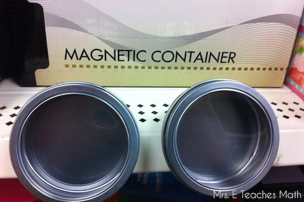 Dollar Store Finds for the Classroom - Magnetic Containers  |  mrseteachesmath.blogspot.com