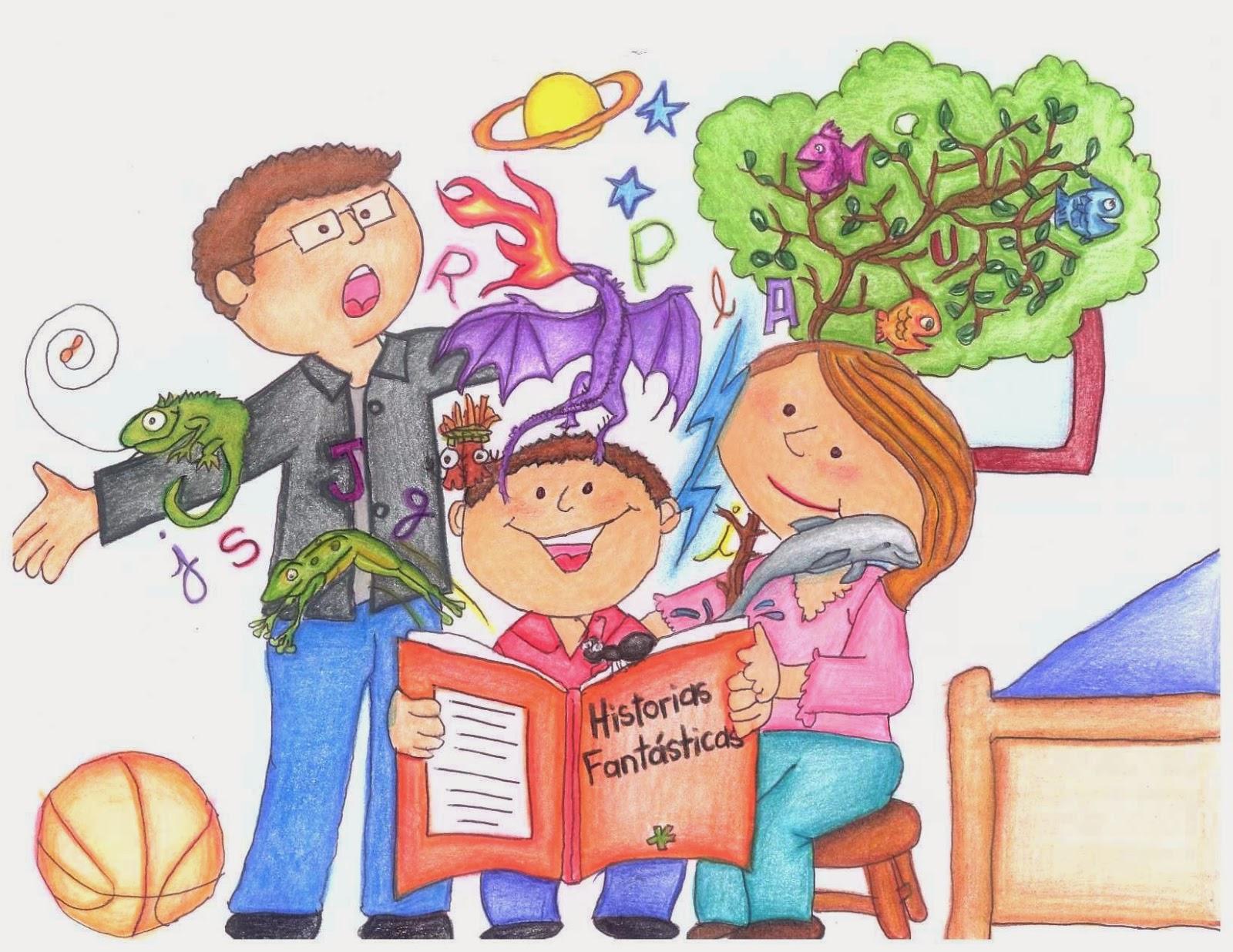 Imagen De Alumnos En Dibujos Animados Leyendo