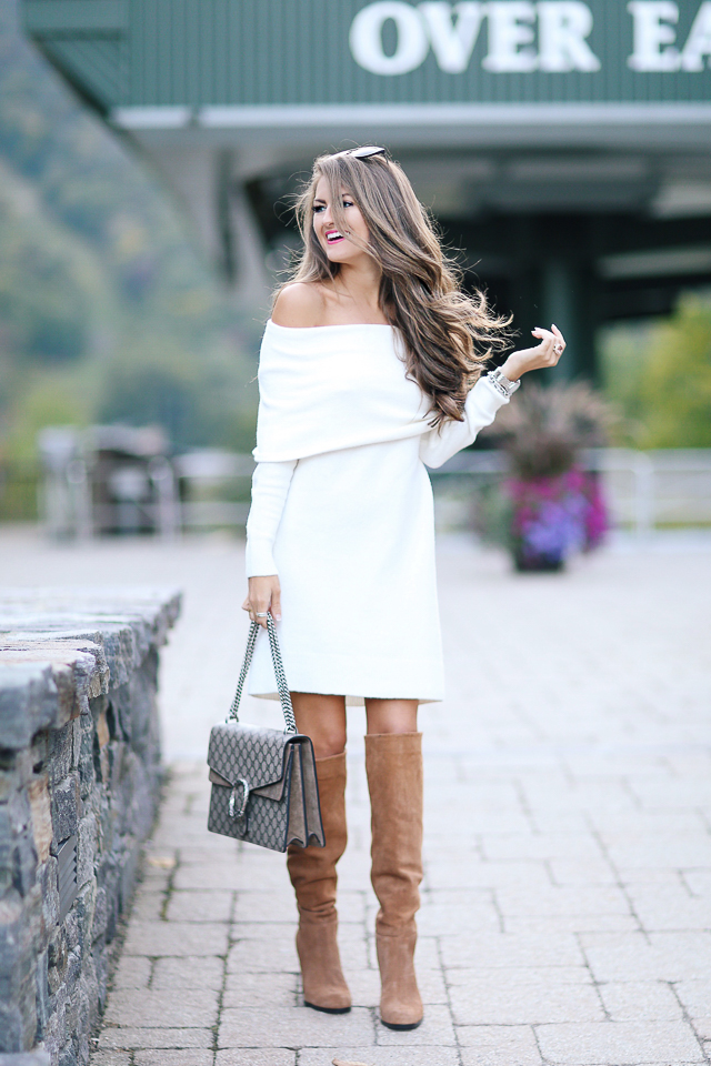 Southern Curls & Pearls: Off Shoulder Sweater Dress