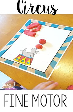 Circus fun with playdough!  Fine motor practice with rolling balls and snakes to make the numbers 1-10.
