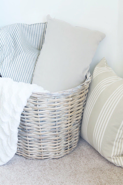 Vintage Wicker Basket & Cozy Pillows
