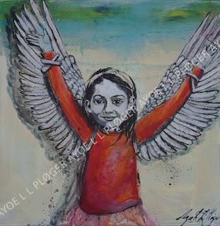 rød,maleri,kunst,art,noget til vægen,glade farver,acryl,gør noget selv, vinger, wings,børn,clean world,