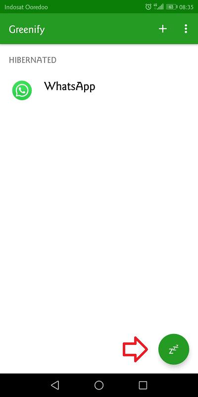 klik tanda zzzz untuk menidurkan aplikasi dengan greenify