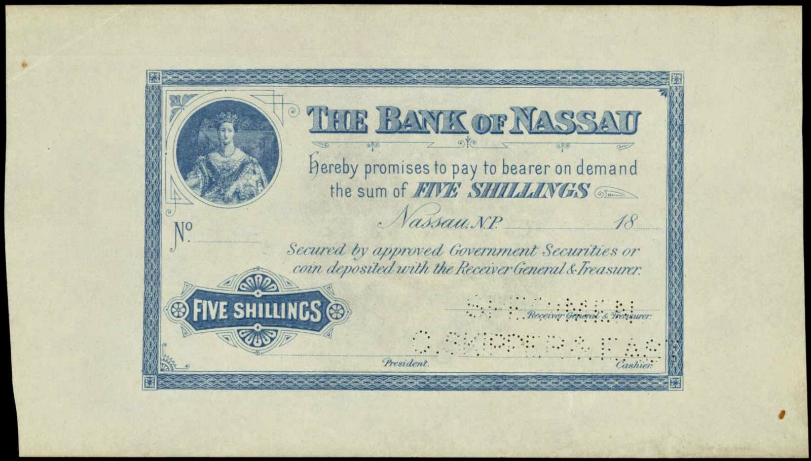 Banknotes of the Bank of Nassau Bahamas 5 Shillings 1870 Portrait young Queen Victoria
