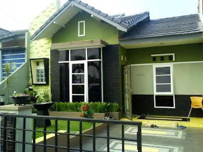 Perpaduan 2 Warna Cat Hijau Rumah Minimalis Tampak Depan Untuk Hunian Masa Kini 2
