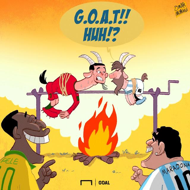 Messi, Pele, Diego Maradona, Cristiano Ronaldo GOAT BBQ illustration