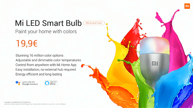 Mi LED Smart Bulb has up to 16 million colors
