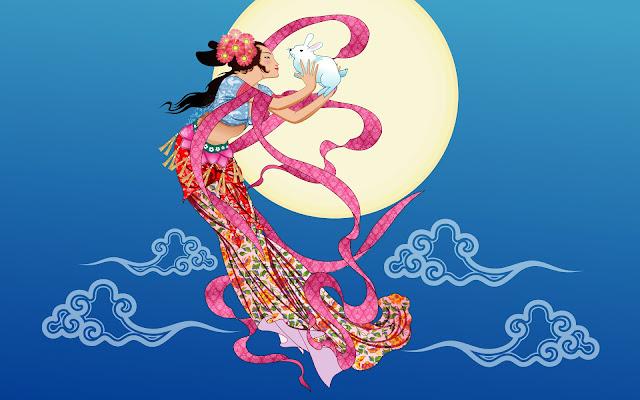 Hình ảnh biểu tượng Chị Hằng và thỏ ngọc trên cung trăng đêm rằm 15 tết trung thu.
