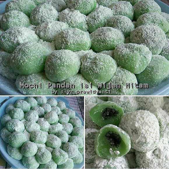 Resep Membuat Kue Mochi Pandan isi Wijen Hitam. Enak, Wangi dan Kenyal - Kenyil